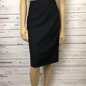 Theory Pencil Skirt Stretch Wool Knee Length Black